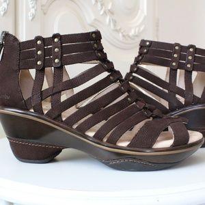 Jambu Sugar Brown Strappy Gladiator Wedge Sandal